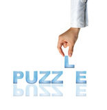 Hand and word Puzzle. Business concept (isolated on white background Stock Photos