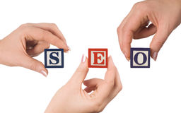Hand and word SEO Royalty Free Stock Images