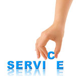 Hand and word Service Royalty Free Stock Images