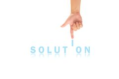 Hand and word Solution Stock Images