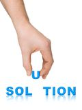 Hand and word Solution Royalty Free Stock Image