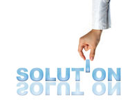 Hand and the word Solution Royalty Free Stock Image