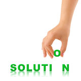 Hand and word Solution Stock Image