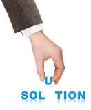 Hand and word Solution Royalty Free Stock Images