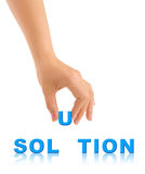 Hand and word Solution Royalty Free Stock Photography