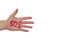 Hand and word sos Royalty Free Stock Photos
