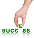 Hand and word Success Stock Images