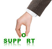 Hand and word Support Royalty Free Stock Photography