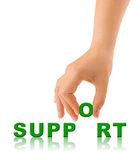 Hand and word Support Stock Images