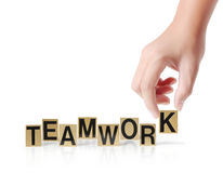 Hand and word Teamwork  Stock Photos
