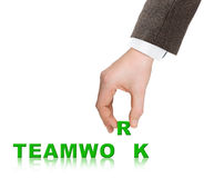 Hand and word Teamwork Stock Images