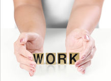 Hand and word work Royalty Free Stock Photos