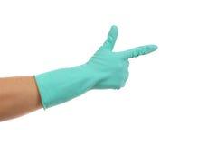 Hand in work glove like a gun. Stock Photography