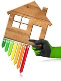 Energy Efficiency - Wooden House stock illustration