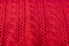 Hand work of red woolen worsted pattern design Royalty Free Stock Image