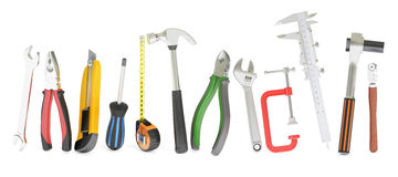 Hand work tools, 3D rendering. On white background Stock Photo