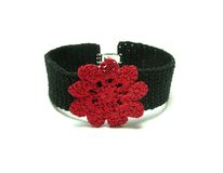 Hand worked crocheted bracelet Royalty Free Stock Photography