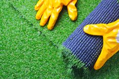Artificial turf laying background royalty free stock image