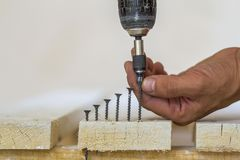 Hand of a worker screws a in a wooden board with a cordles royalty free stock photography