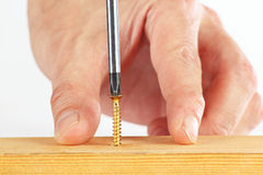 Hand of the worker screws in a wooden block with screwdriver Royalty Free Stock Photo