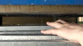 Hand of worker, steel part. stock video