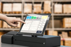 Hand working cashier machine Royalty Free Stock Photography