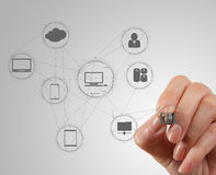 Hand working with a Cloud Computing diagram Royalty Free Stock Image