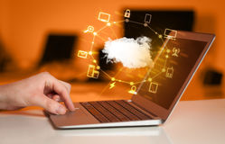 Hand working with a Cloud Computing diagram Royalty Free Stock Photography