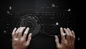Hand working on computer keyboard. Computer programmer, software and web development technology royalty free stock image