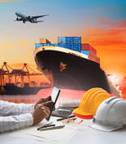 Hand of working man in shipping ,logistic freigh cargo transport Stock Photography