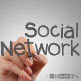 Hand working with new modern computer show social network struct Royalty Free Stock Photo