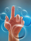 Hand working with touch screen Royalty Free Stock Images