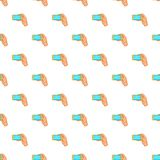 Hand works with smartphone pattern, cartoon style Stock Photo