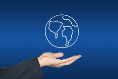 Hand and world map icon Royalty Free Stock Photography