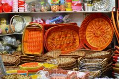 Hand Woven Basket Trays Stock Photo