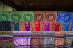 Hand woven fabrics Stock Photo
