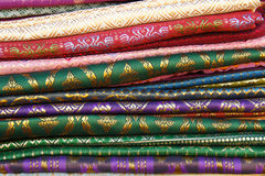 Hand woven fabrics. In the thai market Royalty Free Stock Photography