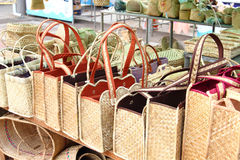 Hand-woven manden, Rodrigues Island royalty-vrije stock foto's