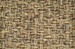 Hand Woven / Tied Rug Detail. Close up of Hand Woven / Tied Rug Detail, Patterned Sisal, Hemp Background Texture stock photo