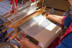 Hand-woven weaving of indigenous Tai-Tai We have inherited the weaving culture since ancient times. And woven fabrics are popular. In the wear royalty free stock photography