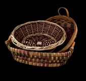 Hand woven wicker baskets Stock Photos