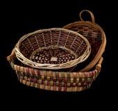 Hand woven wicker baskets Stock Photos