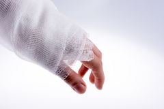 Hand wrapped in bandage Stock Image