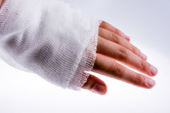 Hand wrapped in bandage Royalty Free Stock Photos