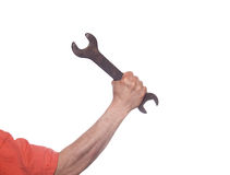 Hand with a wrench. Repairing work spanner wrench tool in human hand Stock Photos