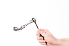 Hand with wrench Stock Image
