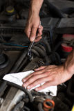 Hand with wrench close up. Auto mechanic hand with wrench close up Stock Photos