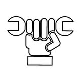 Hand with wrench mechanic tool icon Royalty Free Stock Images