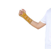 Hand with a wrist brace, orthopedic equipment, insurance concept.  Royalty Free Stock Image