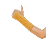 Hand with a wrist brace, orthopedic equipment, insurance concept.  Stock Image
